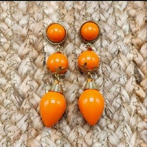 NWT Vintage post acrylic orange gold long chunky